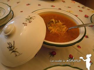 sopa de pasta con verduritas
