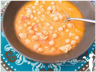 garbanzos con pollo y curry